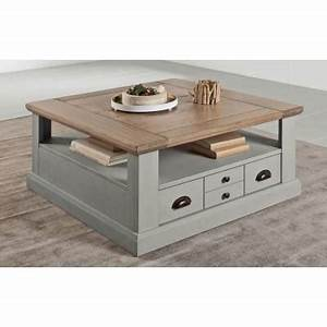 Table Basse Tiroir : table basse carr e 2 tiroirs romance atelier de langres ~ Teatrodelosmanantiales.com Idées de Décoration