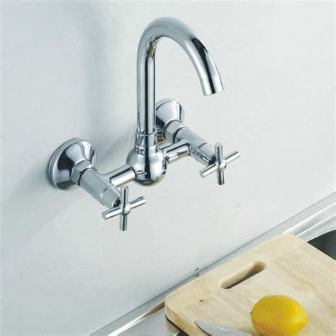 Wall Mounted Kitchen Tap Double Handle Hot Cold Mixer Tap