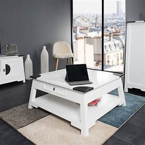 Table De Salon But : table basse acajou bois massif carr e blanche thao 85 cm ~ Dallasstarsshop.com Idées de Décoration