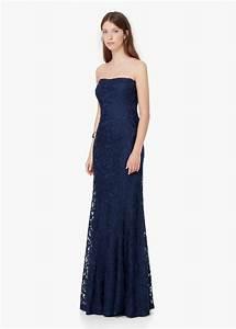 robe maxi longue bustier mango bleu nuit dentelle guipure With maxi robe longue