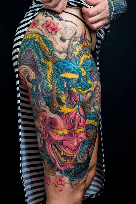 chronic ink tattoo toronto tattoo dragon   thigh tattoo   winson  piece