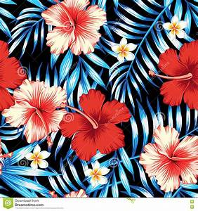 Hibiscus Red And Palm Leaves Blue Seamless Background ...