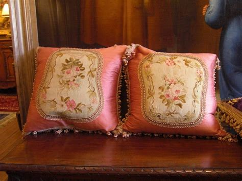 Aubusson Upholstery Fabric by 19th C Original Aubusson Fabric Placed Onto Pillow For