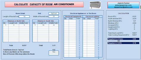 room air conditioning size calculator excel sheet room