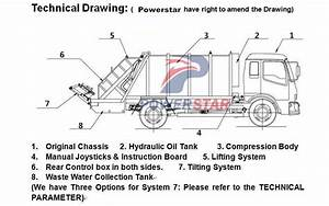 Technical Drawing For 3 Ton Isuzu Garbage Truck With