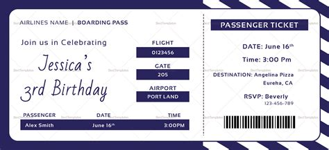 Boarding Pass Template Birthday Boarding Pass Invitation Ticket Design Template