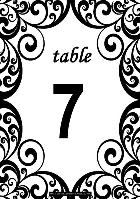 swirls printable diy table numbers  table numbers