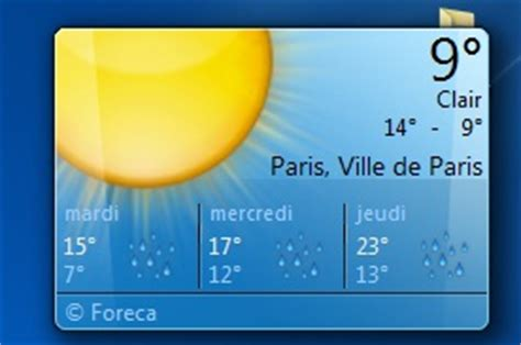 comment installer la météo sur bureau windows 7