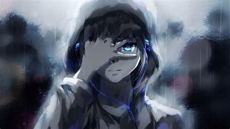 anime boy hoodie blue eyes headphones