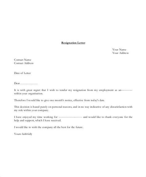 basic resignation letter template   word
