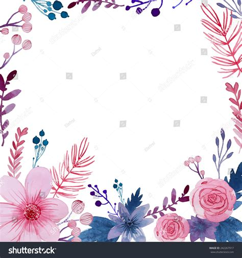 watercolor floral background flowers plants frame stock