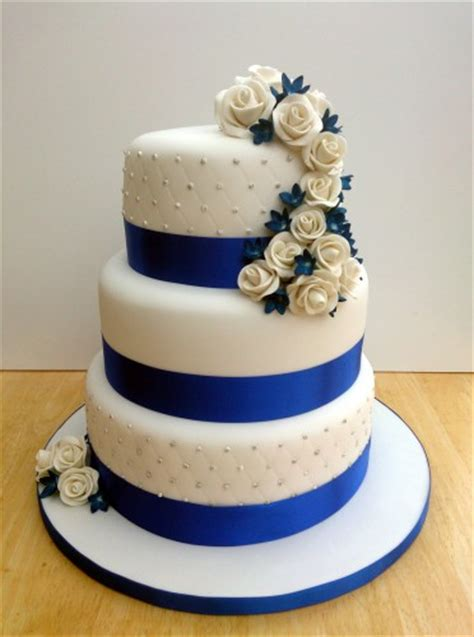 tier  stacked wedding cake  sapphire blue