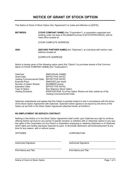Notice of Grant of Stock Option Template – Word & PDF | By