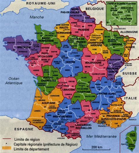 Carte De Et Region Et Departement by Territoire