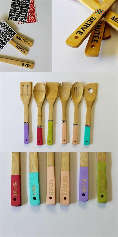diy paint dipped bamboo utensils craft