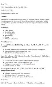 optometric assistant experience on resume best optometric technician resume sles slebusinessresume slebusinessresume