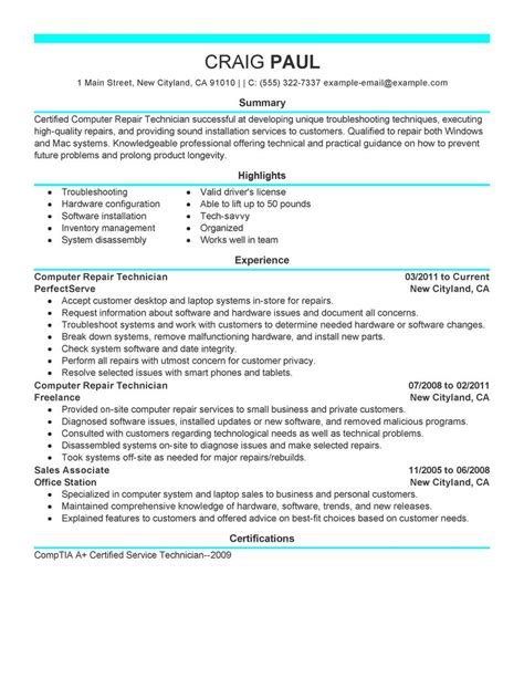 computer repair technician resume exles computers