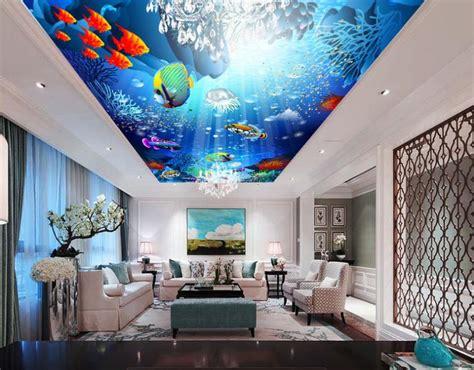 ceiling tiles  underwater world  wallpaper custom