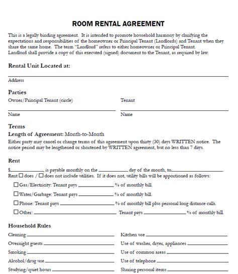 room rental agreement form template room rental agreement form real estate forms