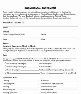 Rental agreement for room real estate forms for Room for rent agreement template free