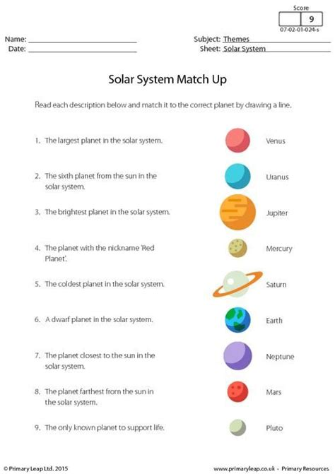 primaryleap co uk solar system match up worksheet