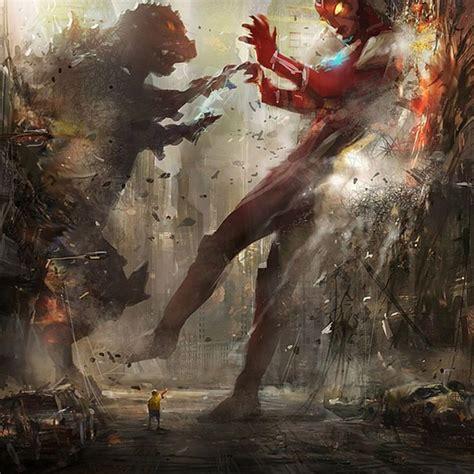 Ultra Man Vs Godzilla #ipad Wallpaper