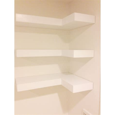 White Floating Corner Shelves Set Of Three By