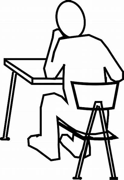 Desk Chair Sitting Thinking Clip Students Clipart