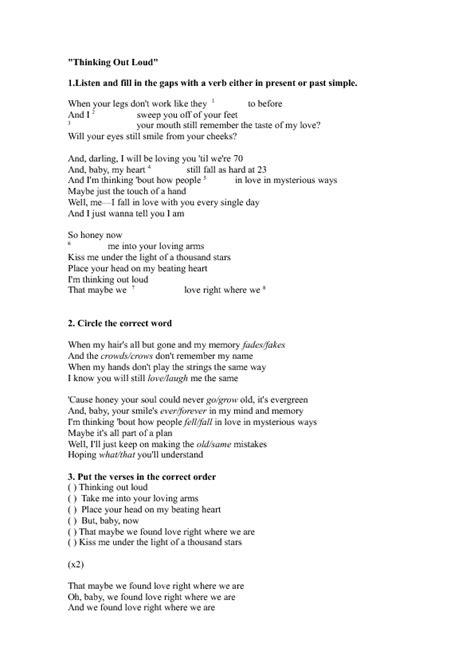 song thinking out loud az lyrics