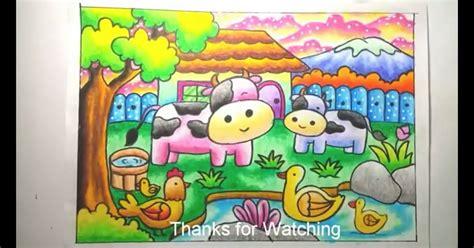cara mewarnai sapi dengan crayon