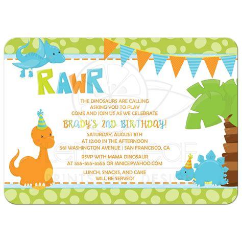 birthday party invitation boy dinosaur  orange blue
