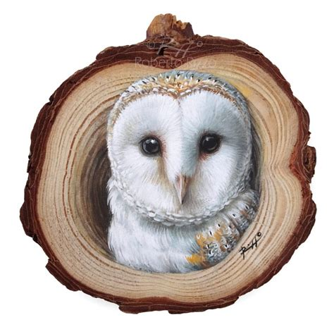 barn owls lair  wood slice owl painting  decorate