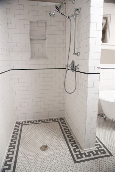 shower with subway tile greek key shower tiles transitional bathroom clay squared