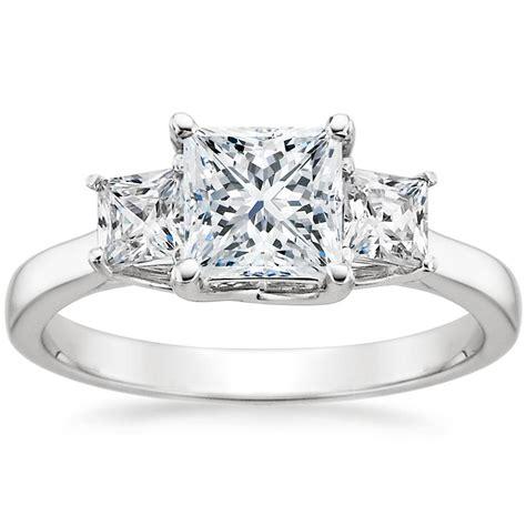princess diamond ring three stone princess brilliant earth
