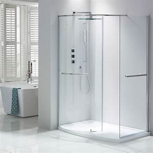 Aquaglass closing walk in shower enclosure from frontline for Shower cubicles for small bathrooms uk