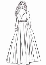 Gown Ball Coloring Pages Printable Supercoloring sketch template