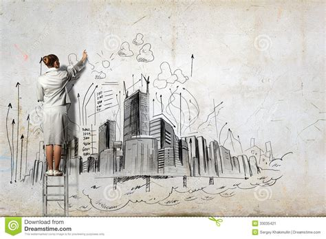 businesswoman drawing  wall stock image image