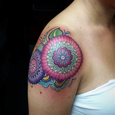 elegant mandala shoulder tattoos