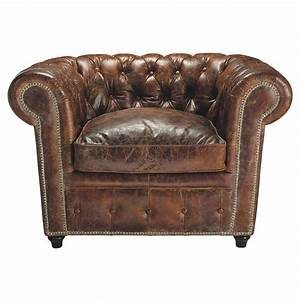 fauteuil chesterfield capitonne en cuir marron vintage With fauteuil chesterfield cuir