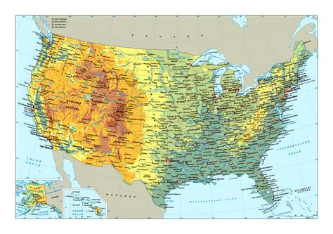 large physical map   usa  roads  major cities