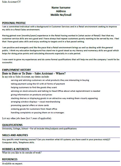 sales assistant cv  lettercvcom