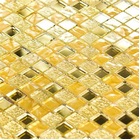 credence en carrelage pour cuisine mosaïque pâte de verre luxe or dorée miroir indoor by
