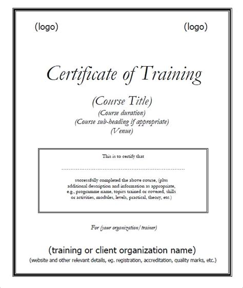 Traininb Certificate Template by 6 Free Training Certificate Templates Excel Pdf Formats