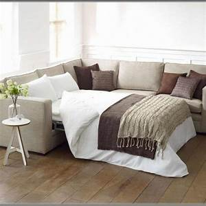 L shape gray canvas sleeper sofa with extra bed and track for Additional mattress for sofa bed