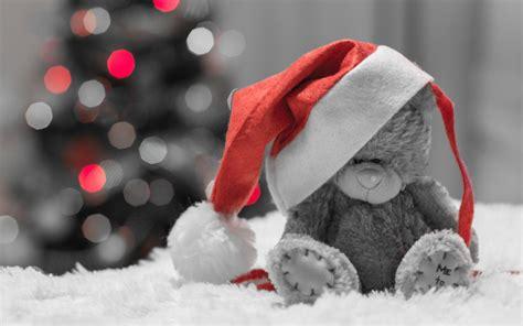 christmas teddy bear widescreen wallpaper wide