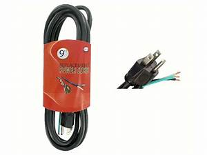 9 Ft 14  3 15a 125v 3 Wire Grounding Replacement Power Cord