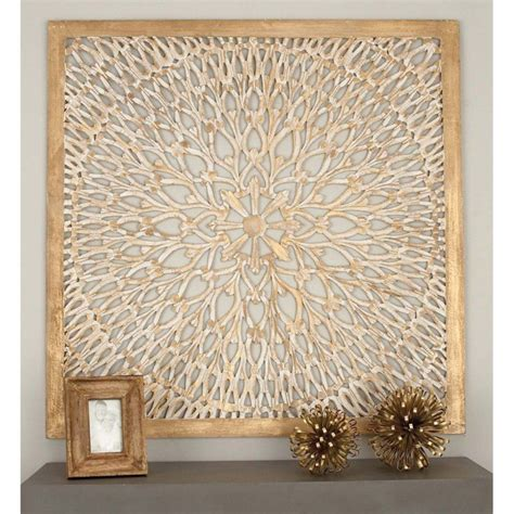 A wide range of high quality 3d wooden wall panels available. DecMode Square Wood Light Brown Wall Panel with Circular Filigree Design | Wooden wall panels ...