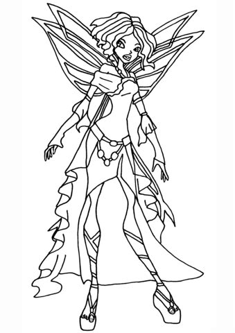 Winx Club Nebula Fairy coloring page Free Printable