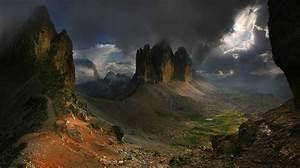 Nature, Landscape, Dark, Mountain, Sun, Rays, Summer, Clouds, Wallpaper