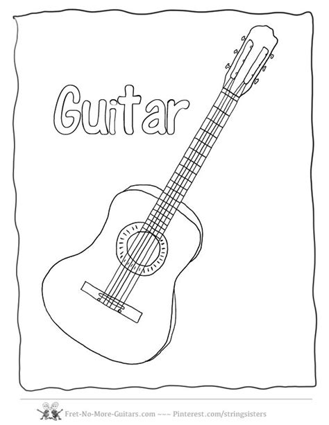 guitar coloring pages images  pinterest